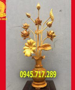 Bình hoa sen gỗ mít để thờ