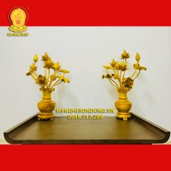 Cặp bình hoa sen gỗ mít để bàn thờ